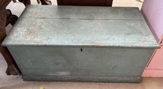 A green painted pine coffer on a plinth base