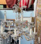 A cut glass lustre drop chandelier