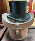 A Christy's London top hat in a leather case.