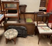 A coffer together with a tea trolley with glass doors, a bergere plant stand, two trays,