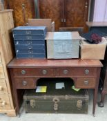 An Edwardian mahogany dressing table together with a cabin trunk,