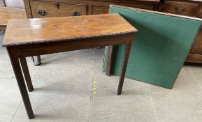 A George III style mahogany side table with a rectangular top on blind fret work legs,