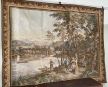 A Belgian tapestry wall hanging depicting figures by a river together with two other Belgian