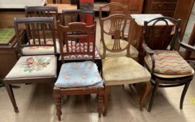 A bentwood elbow chair together with a teak bedside cabinet and six other assorted chairs