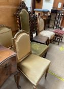 A pair of 19th century gilt decorated salon chairs together with an oak framed chair three other