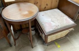 An Edwardian mahogany occasional table of circular form together with a box stool of tapering form