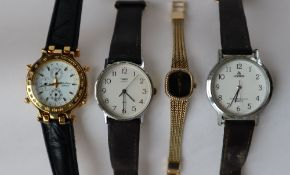 A Lady's Rotary wristwatch, with a black oval dial and gilt metal strap,