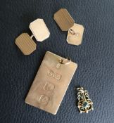 A 9ct gold pendant together with a pair of 9ct gold cufflinks and a yellow metal pendant,