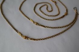 A 9ct yellow gold chatelaine chain, with ball and bar decoration,