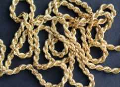 An 18ct yellow gold rope twist necklace, 75cm long, approximately 25.