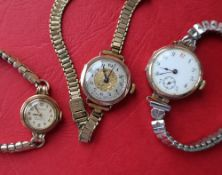 A Lady's Jaeger-Le-Coultre 9ct gold wristwatch, with a silvered dial and Arabic numerals,