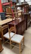 A modern mahogany sideboard, together with a Stag side cabinet, oak occasional table,