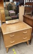 A G-Plan Egomme oak dressing table with two drawers on splayed legs
