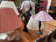 Two Art Nouveau inspired table lamps together with seven other table lamps