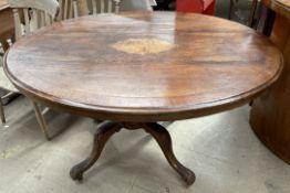 A Victorian walnut supper table,