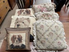A collection of cushions,