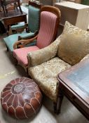 An Edwardian upholstered salon chair together with a Victorian mahogany library chair,