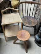 A spindle back kitchen chair together with a leather topped stool and a bamboo effect side table