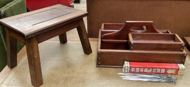 A cutlery tray with removable trays together with a stool,