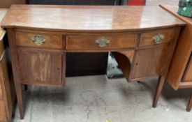 A 19th century mahogany sideboard with a D shaped top,