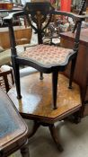 An Edwardian cornet chair with a floral inlaid back,