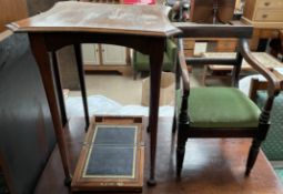 A 19th century mahogany Childs elbow chair together with an occasional table and a Victorian walnut