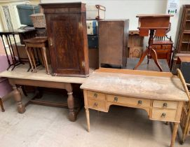 An oak refectory type table together with an oak hanging corner cupboard,