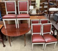 A set of six continental grey painted and upholstered dining chairs together with a mahogany drop