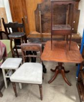A Regency mahogany dining chair together with a 19th century mahogany tripod table, wash stand,