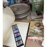 A stamp album, together with Ladybird books, a Tiffany style ceiling lamp shade,