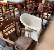 A Lloyd Loom white painted chair together with a stick back elbow chair,