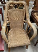 A large wicker armchair