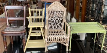 A 19th century Child's chair together with a Tri-ang dolls high chair,