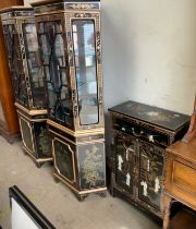 A pair of Chinoiserie decorated corner display cabinets together with a similar side cabinet