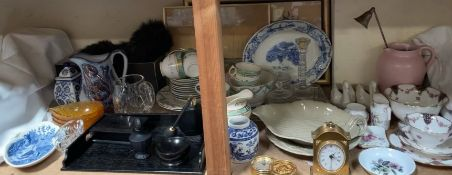 Royal Crown Derby miniatures together with a part tea set, glass dressing table set,