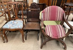 A 19th century Dutch marquetry dining chair together with a slat back nursing chair,
