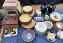 A Denby terracotta and cream part dinner set together with assorted blue and white plates,