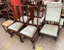 A campaign style folding elbow chair together with a set of four Queen Anne style dining chairs and