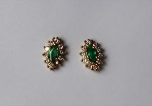 A pair of emerald and diamond earrings,