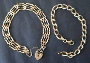A 9ct yellow gold bracelet with oval twisted links together with a 9ct gold gate bracelet,