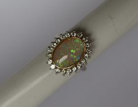 An opal and diamond dress ring,