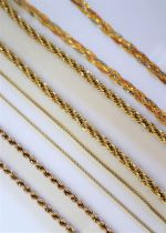 A 9ct yellow gold rope twist necklace together with three other 9ct gold necklaces,