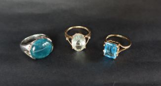 A 9ct gold ring set with an emerald cut blue topaz,