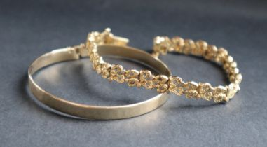 A 9ct yellow gold textured link bracelet, together with a 9ct gold slave bracelet, approximately 22.