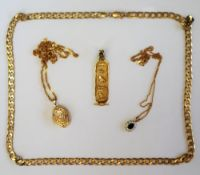 A 9ct yellow gold necklace with flat oval links,