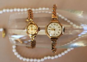 A Lady's 9ct yellow gold wristwatch, the circular dial inscribed Figaro,