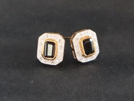 A pair of sapphire and diamond earrings,