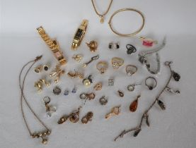 A Lady's Seiko wristwatch together with other Lady's wristwatches and assorted costume jewellery