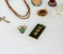 A 9ct gold jade panel ring together with a Chinese jade pendant and assorted costume jewellery