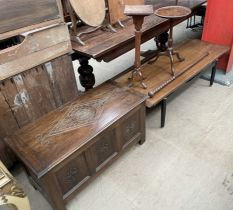 A teak coffee table with ebonised legs together with two wine tables a walking stick and an oak